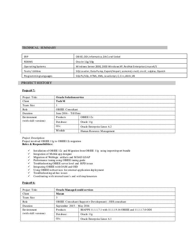 obiee sample resume \u2013 valxi