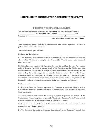 independent subcontractor agreement template