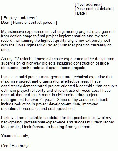 Ideas of Cover Letter Examples For Civil Engineering Internship ...