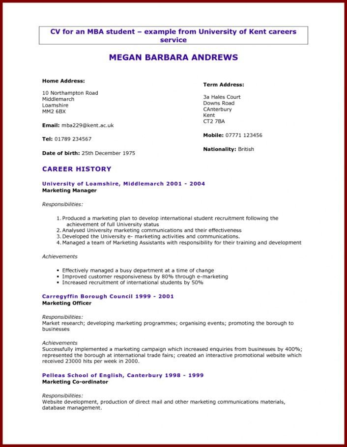 Resume Examples For Graduate Students | Resume Examples 2017