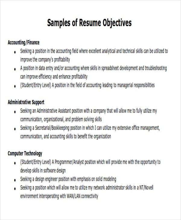 general resume objectives samples accounting officer sample resume ...