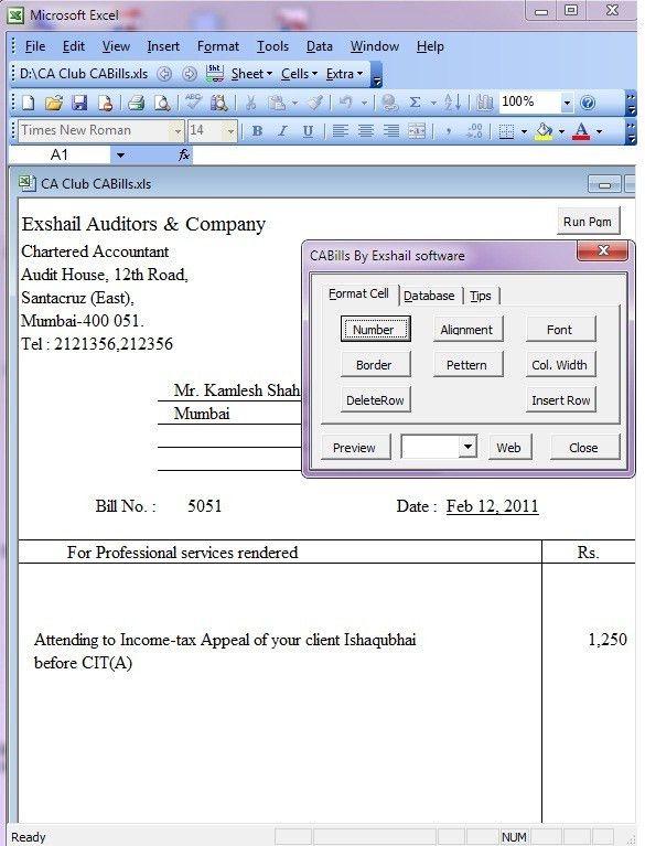 Download Invoice Format Excel Chartered Accountants | rabitah.net