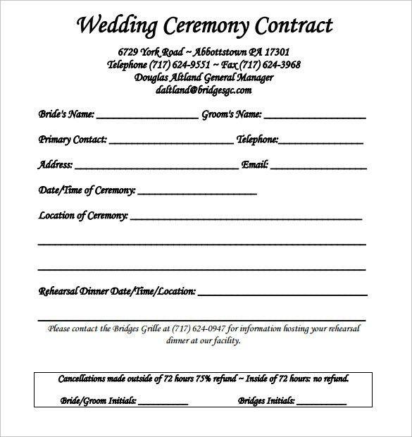 Wedding Contract Template - 18 + Download Free Documents in PDF ...