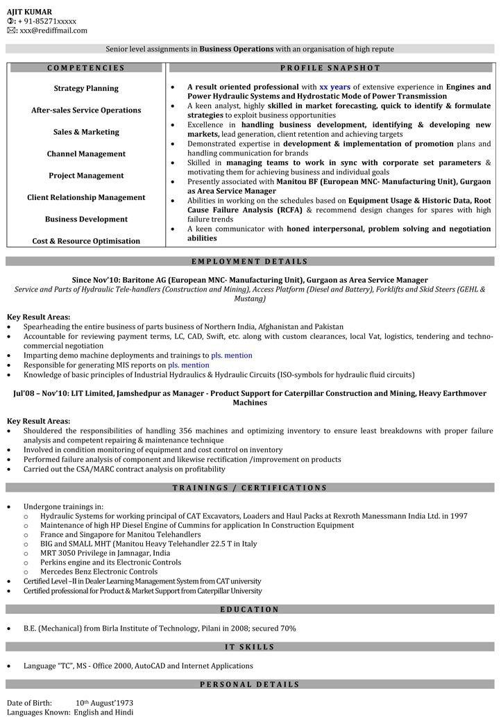 Sales Engineer Resume Samples | Sales Manager Resume Format ...