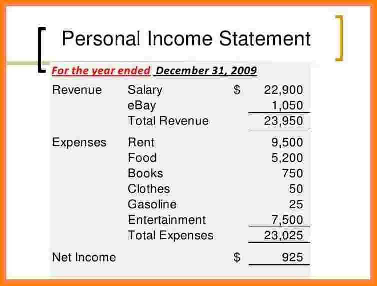 7+ personal income statement example | Ruby Case Statement