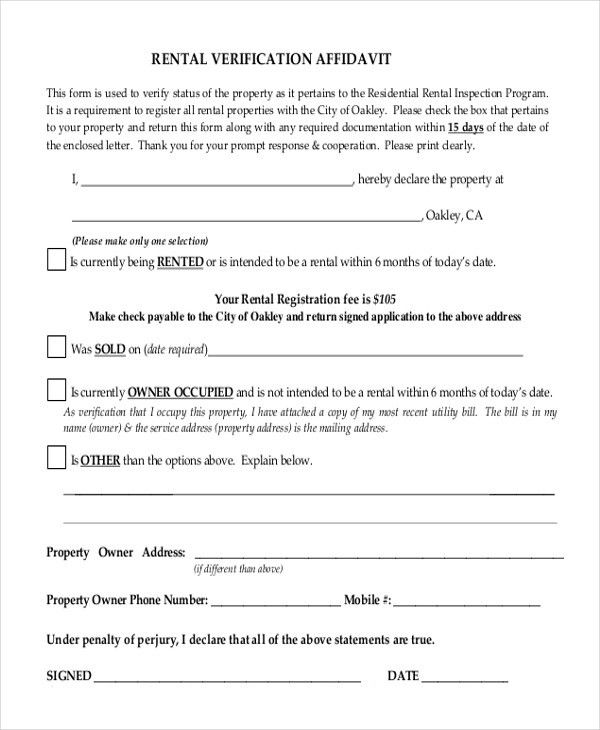 Sample Rental Verification Form - 9+ Free Documents in PDF