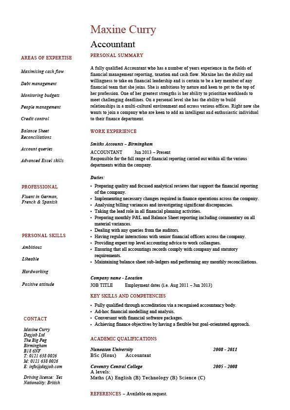 Accountant resume, example, accounting, job description, template ...