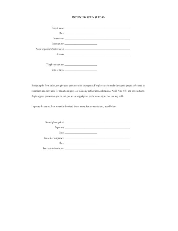 Simple Interview Release Template Free Download