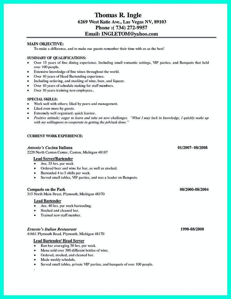 Head Waiter Resume Skills. 12 server resume samples riez sample ...