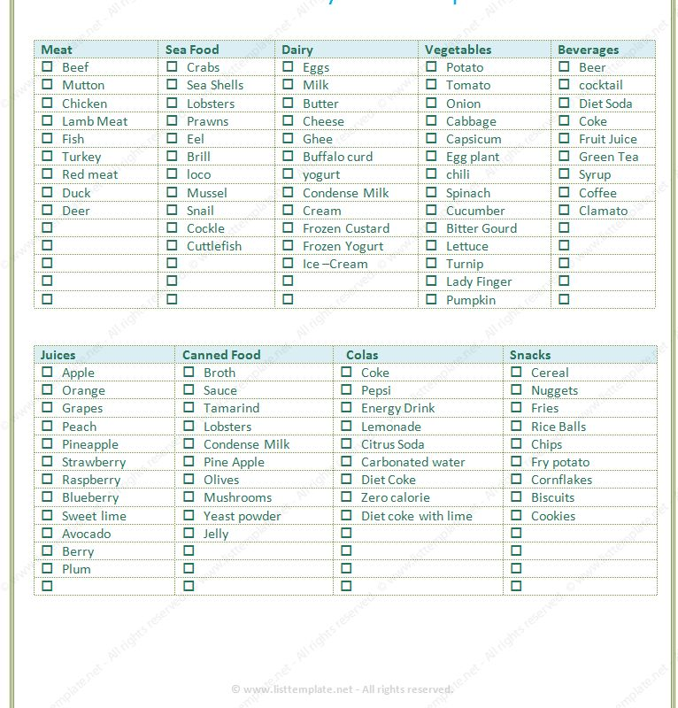 grocery list template - List Templates