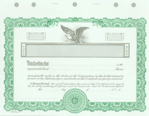 Stock Certificates - Blank