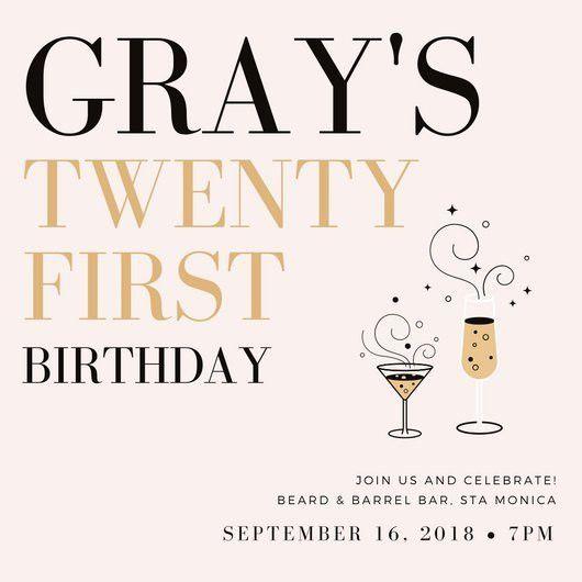 21st Birthday Invitation Templates - Canva