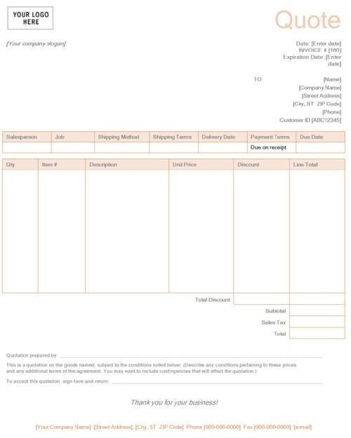 Sales Quotation Template Word
