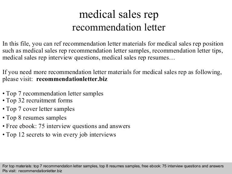 Medical sales rep recommendation letter