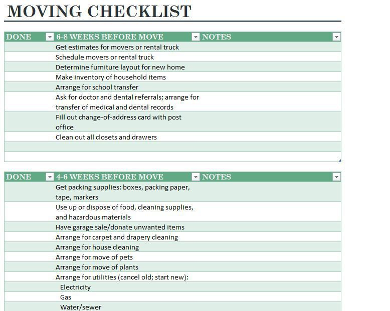 Moving Checklist Template. Ipad Screenshot 1 Moving Checklist Pro ...