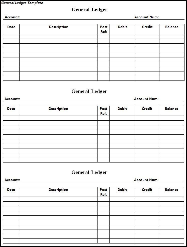 General Ledger Template - Best Word Templates