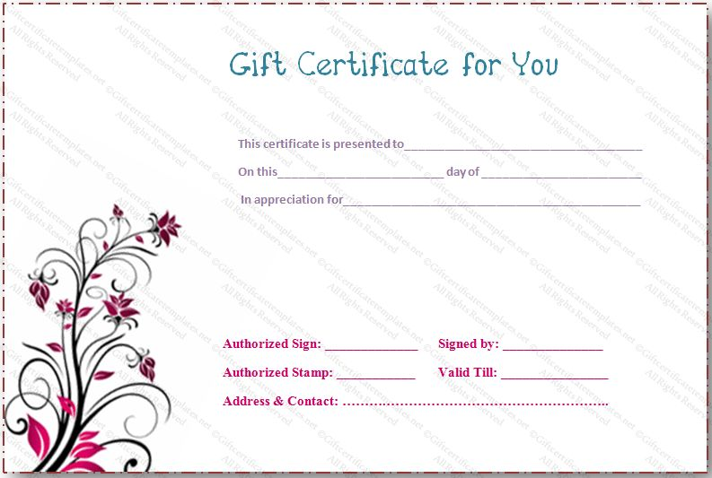 Pink flower gift certificate template - Gift Certificates