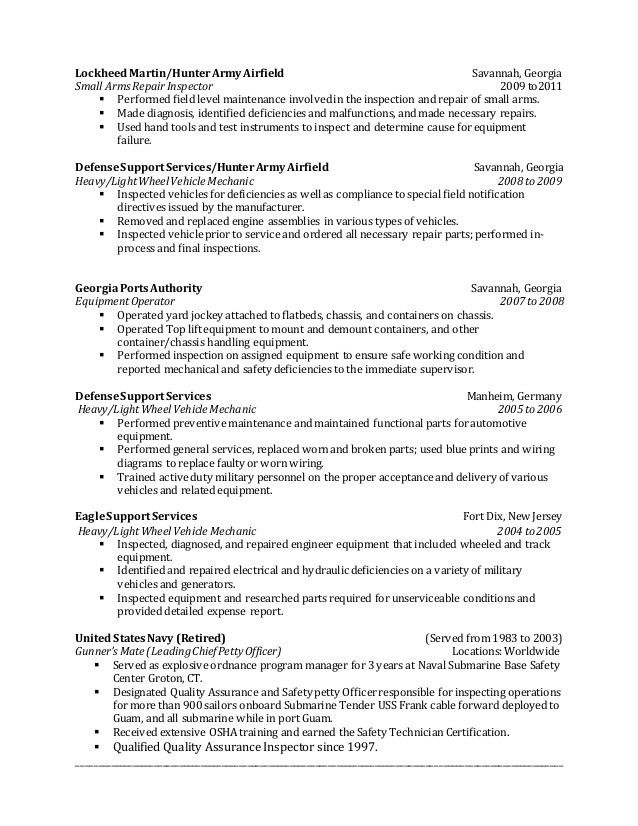 Terry Brewton's QC Inspector Resume