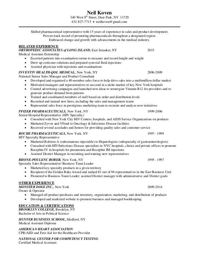 Neil Koven Pharmaceutical Resume 2015
