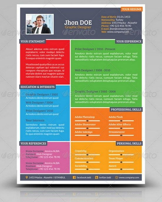 Colorful Cv Resumes Pinterest Resume Templates And Search 2017 ...