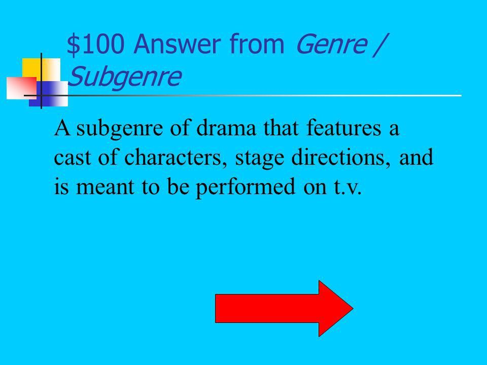 Jeopardy Vocabulary Narrator's Perspective Literary Terms Genre ...