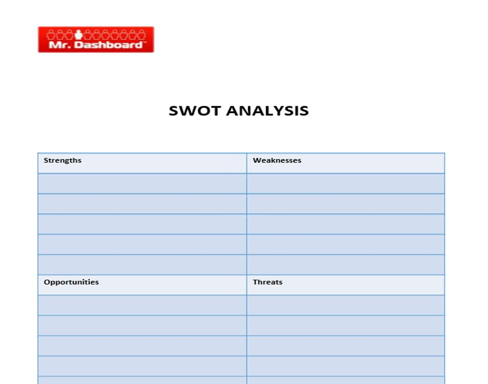 SWOT Analysis Template, Examples and Definition | Mr Dashboard