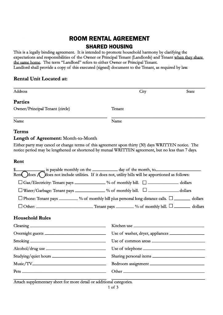 Free Santa Cruz County,California Room Rental Agreement   PDF ...