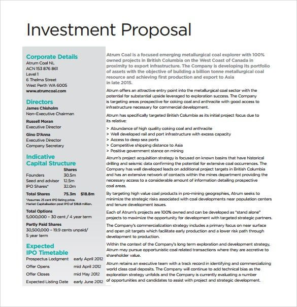 28+ Business Investment Proposal Template | Sample Business ...