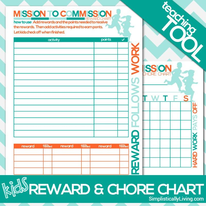 Free Printable Kids Commission Reward and Chore Chart