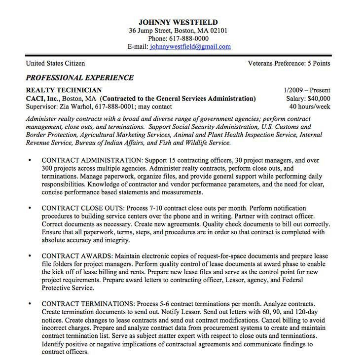 Federal Resume Example. Federal Resume Sample - Federal Resume ...