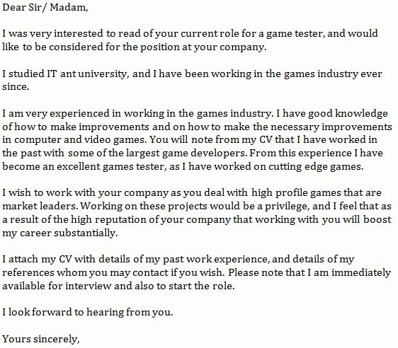 Ea sports game tester cover letter