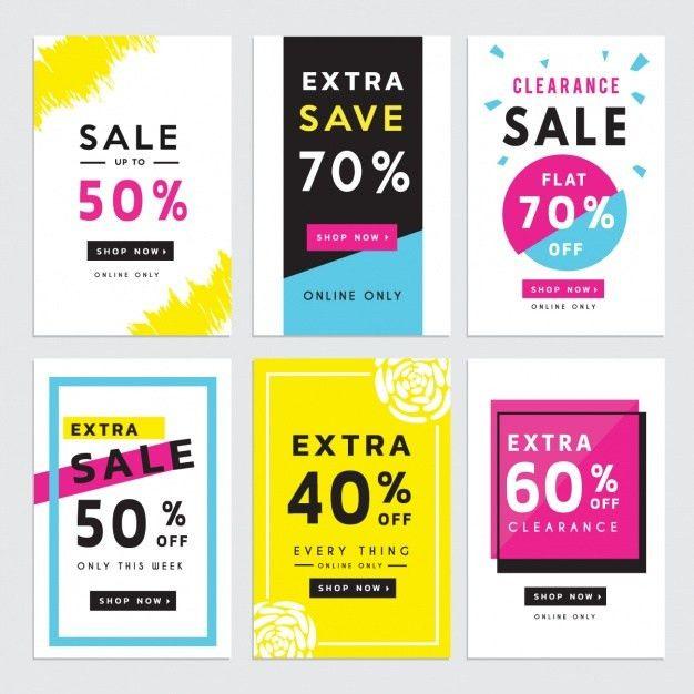 Six discount vouchers Vector | Free Download