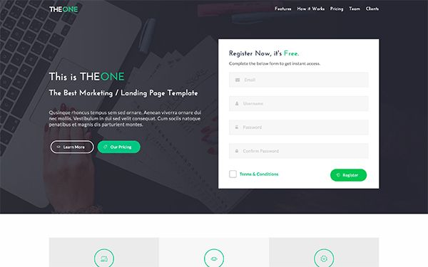 TheOne - Landing Page Template | Bootstrap Landing Pages ...