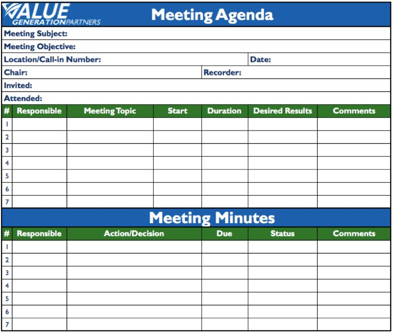 Generating Value by Using Agenda and Minutes | Rod Baxter | Pulse ...