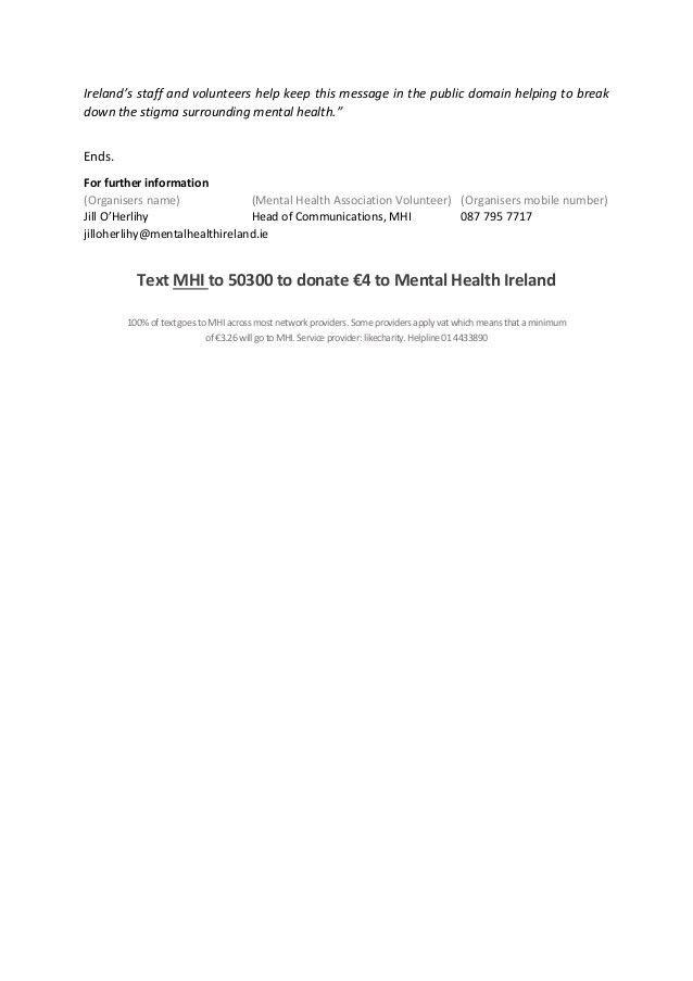 World mental health week press release template