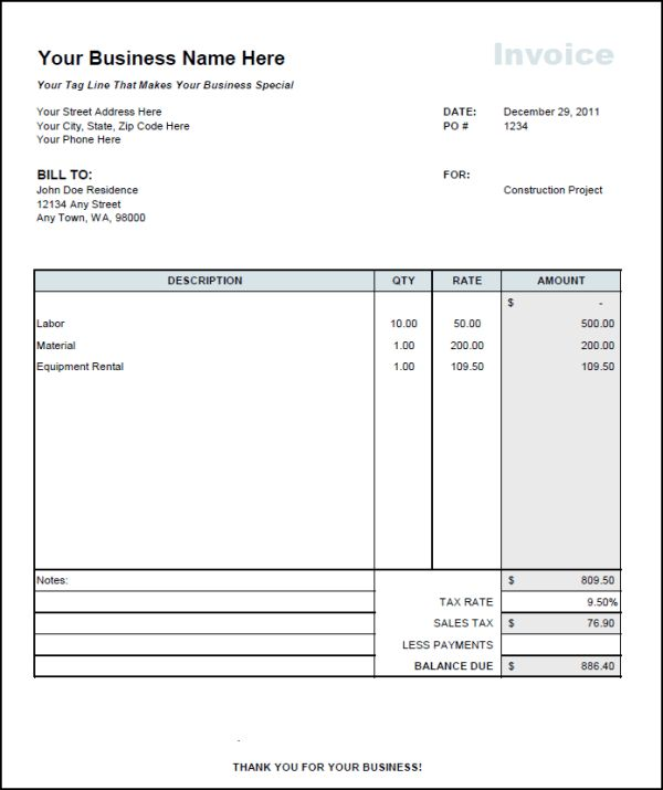Download Rental Invoice Template Doc | rabitah.net