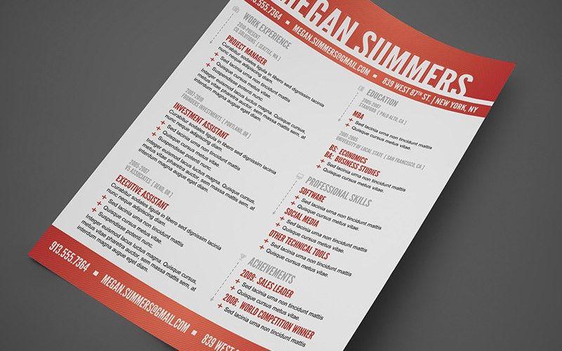 Free Modern Swiss Style Resume / CV PSD Template | Cursive Q Designs