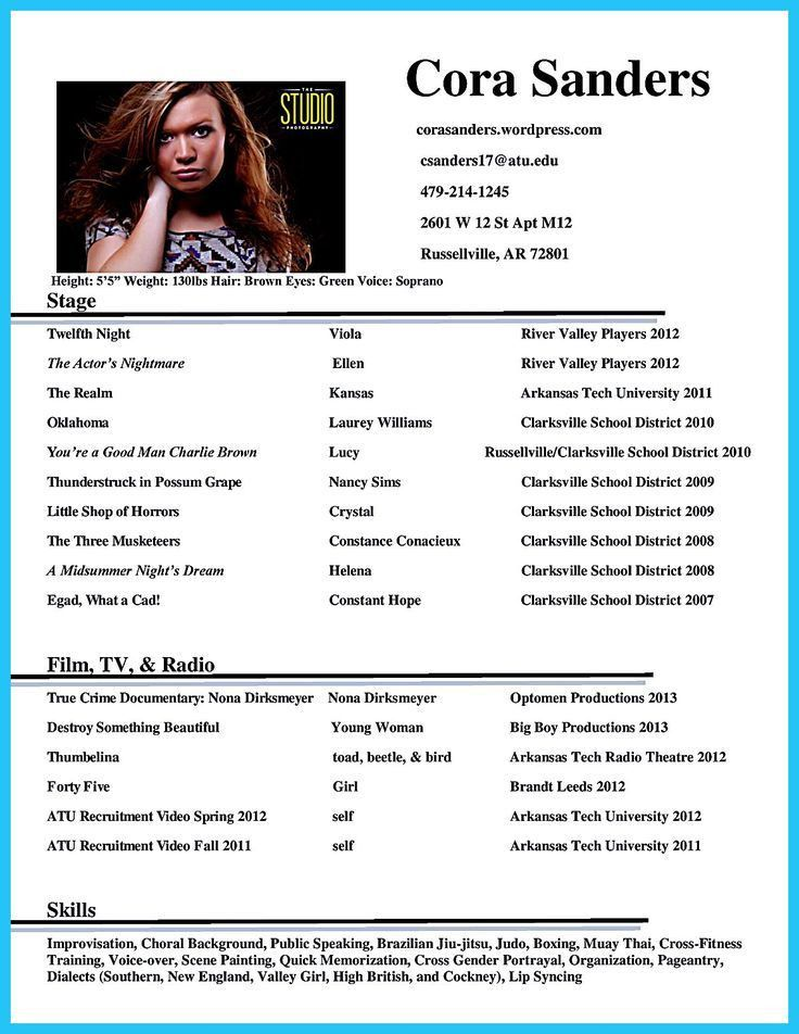 child actor resume format 13 best acting template special skills ...