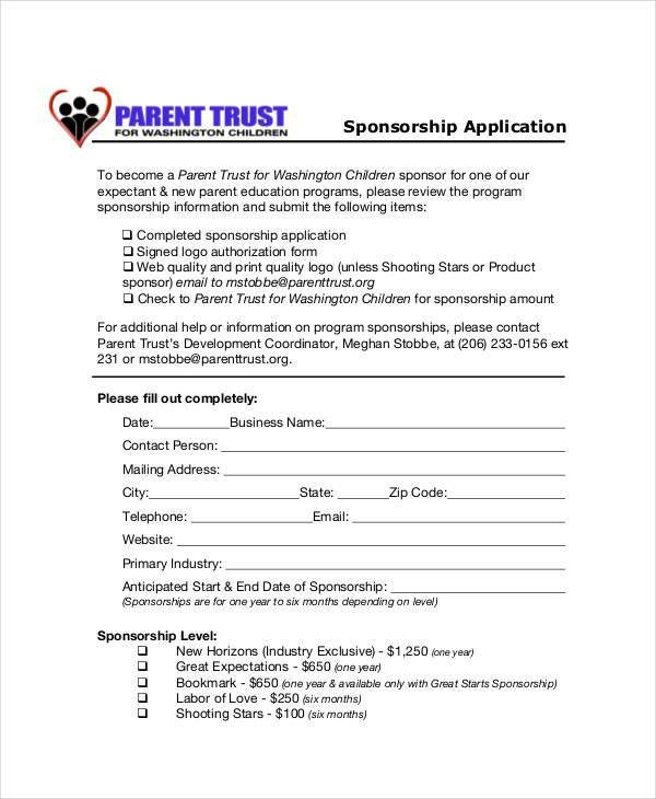 8+ Sponsorship Application Templates – Free Sample, Example ...