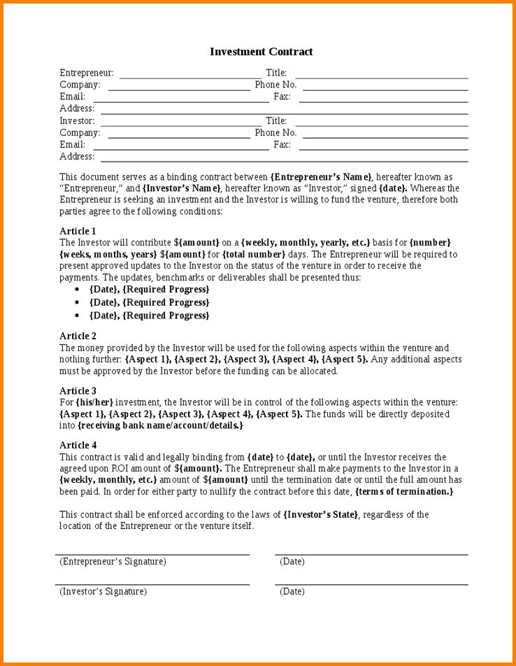 Investment Contract.Sample Investors Agreement Form Template.png ...