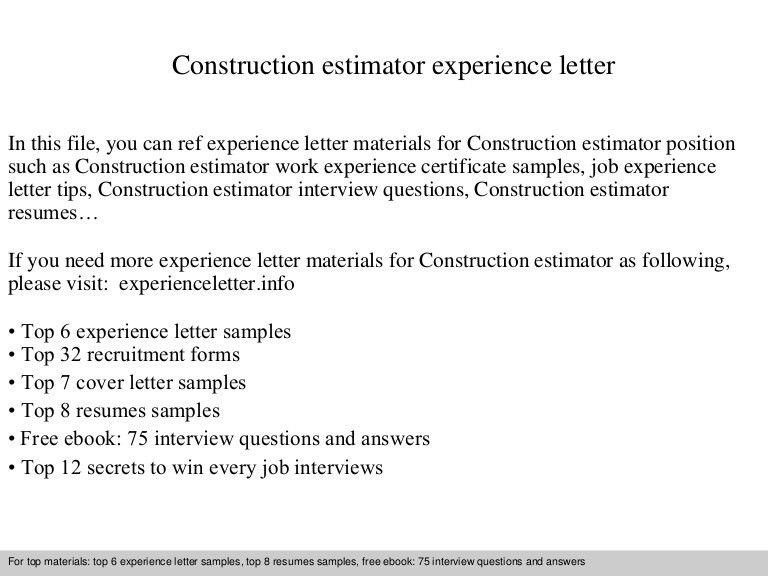Awesome Estimator Cover Letters Gallery - podhelp.info - podhelp.info