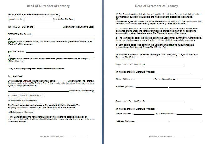 Free Deed of Surrender of Assured Shorthold Tenancy Agreement (AST ...
