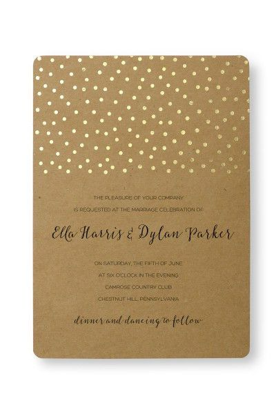 Gold Foil Dots Print at Home Invitation Kit | Gartner Studios