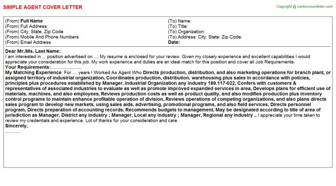 Extension Agent Cover Letter