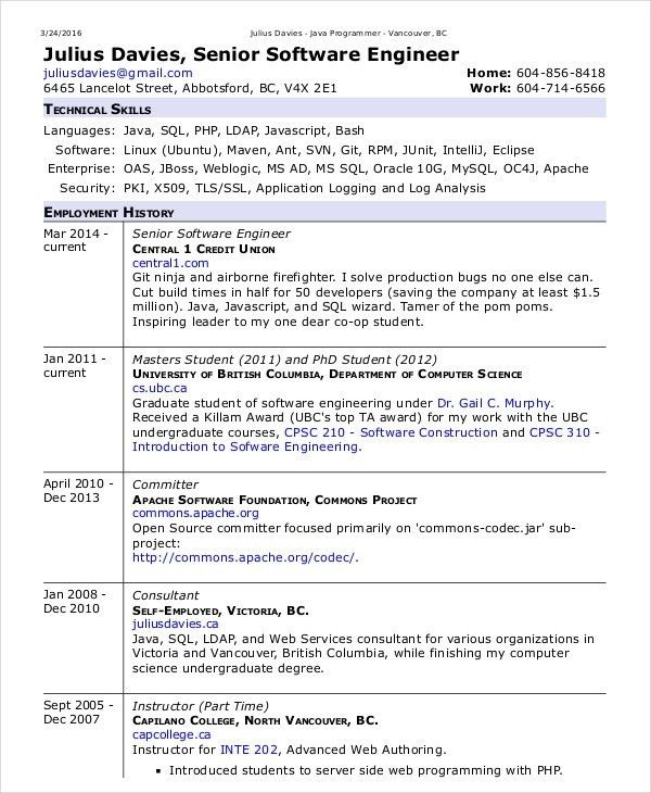Software Engineer Resume Template Free Download ...