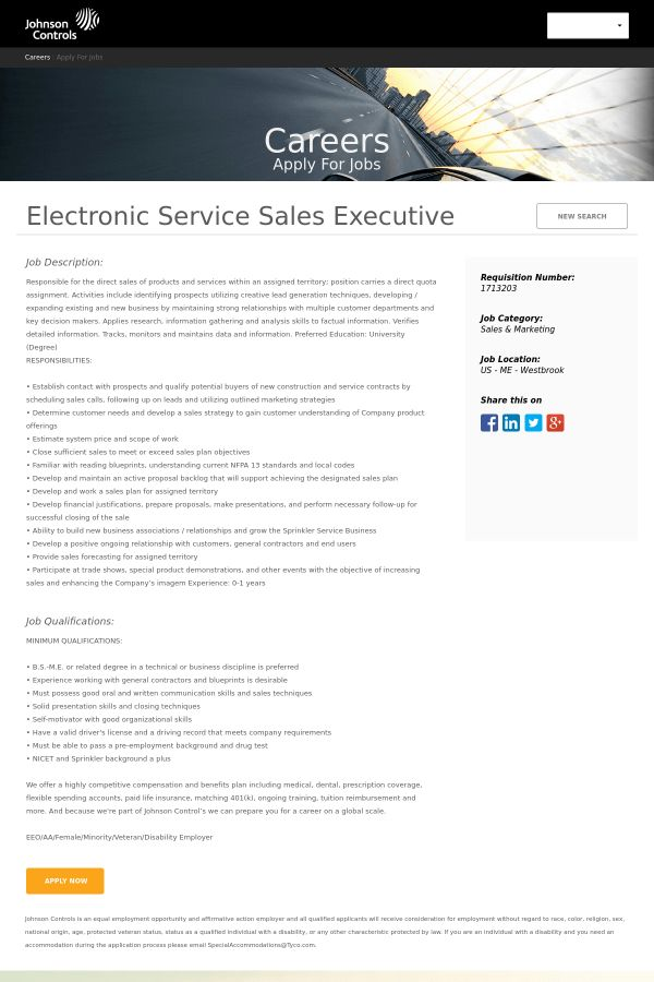 Electronic Service Sales Executive job at Johnson Controls in ...