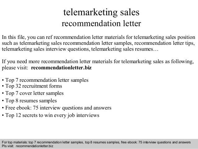 Telemarketing sales recommendation letter