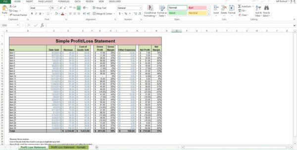 Profits And Losses Template Profit Loss Spreadsheet Template ...