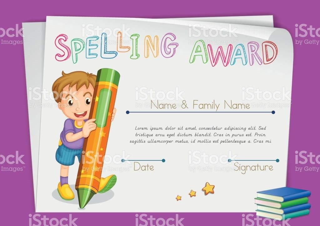 Spelling Award Certificate Template With Kids And Crayon stock ...