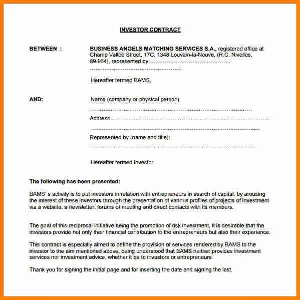 11+ investment contract template | budget template